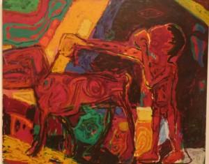 Gerd Sonnag, Der rote Junge mit dem Hund. 1987